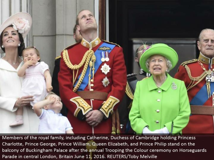 Members of the illustrious family, including Catherine, Duchess of Cambridge holding Princess Charlotte, Prince George, Prince William, Queen Elizabeth, and Prince Philip remain on the gallery of Buckingham Palace after the yearly Trooping the Color function on Horseguards Parade in focal London, Britain June 11, 2016. REUTERS/Toby Melville