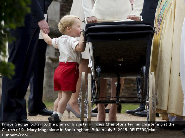 Prince George investigates the pram of his sister Princess Charlotte after her dedicating at the Church of St. Mary Magdalene in Sandringham, Britain July 5, 2015. REUTERS/Matt Dunham/Pool