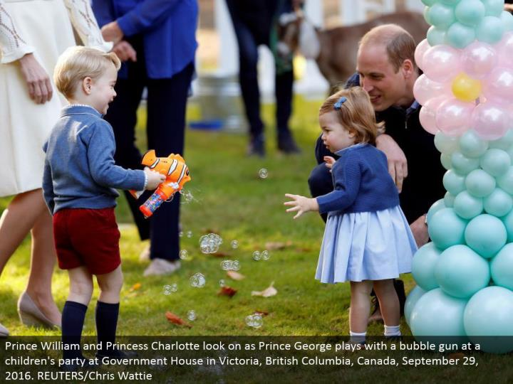 Prince William and Princess Charlotte look on as Prince George plays with an air pocket firearm at a kids' gathering at Government House in Victoria, British Columbia, Canada, September 29, 2016. REUTERS/Chris Wattie