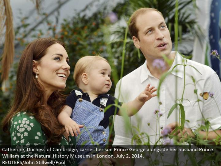 Catherine, Duchess of Cambridge, conveys her child Prince George nearby her significant other Prince William at the Natural History Museum in London, July 2, 2014. REUTERS/John Stillwell/Pool
