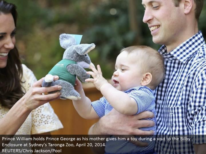 Prince William holds Prince George as his mom gives him a toy amid a visit to the Bilby Enclosure at Sydney's Taronga Zoo, April 20, 2014. REUTERS/Chris Jackson/Pool