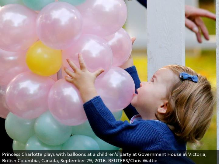 Princess Charlotte plays with inflatables at a kids' gathering at Government House in Victoria, British Columbia, Canada, September 29, 2016. REUTERS/Chris Wattie