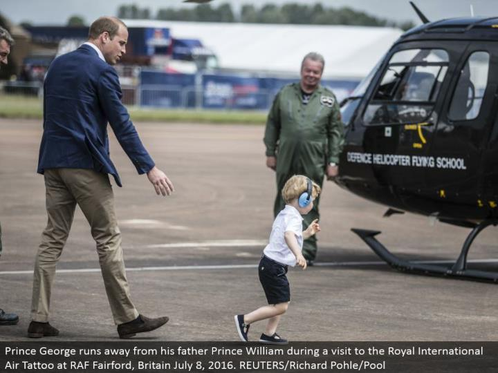 Prince George flees from his dad Prince William amid a visit to the Royal International Air Tattoo at RAF Fairford, Britain July 8, 2016. REUTERS/Richard Pohle/Pool