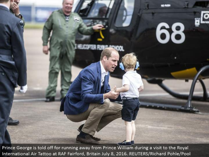 Prince George is berated for fleeing from Prince William amid a visit to the Royal International Air Tattoo at RAF Fairford, Britain July 8, 2016. REUTERS/Richard Pohle/Pool