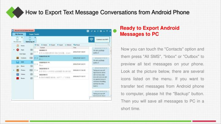 How to Export Text Message Conversations from Android Phone