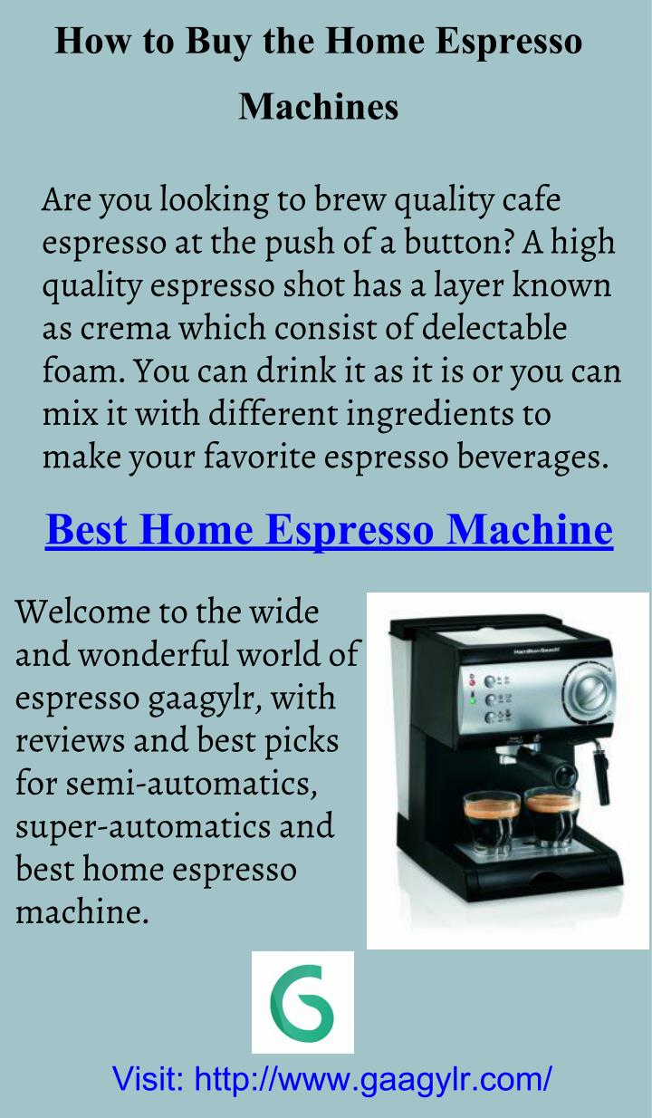 How to Buy the Home Espresso