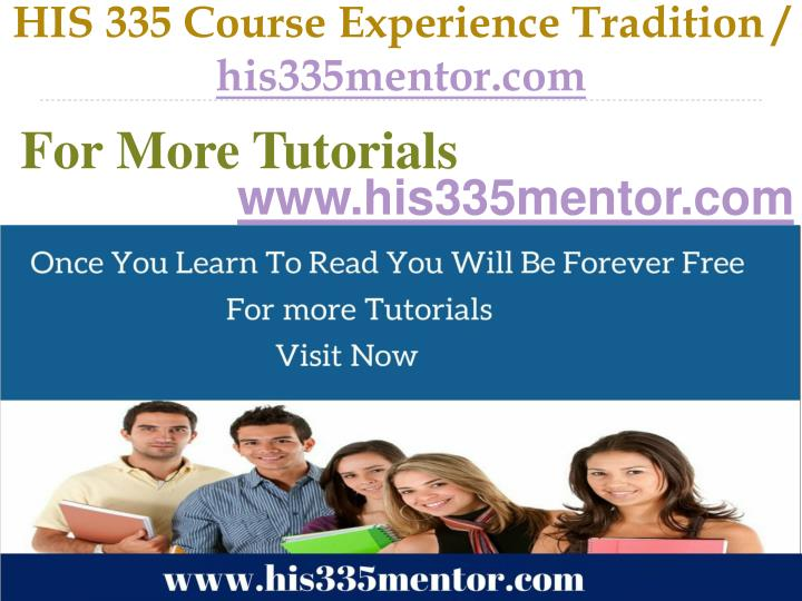 His 335 course experience tradition his335mentor com