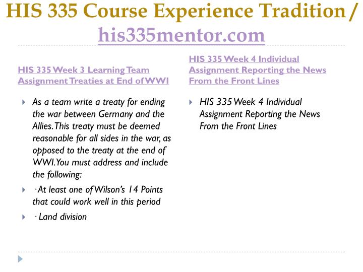 HIS 335 Course Experience Tradition /