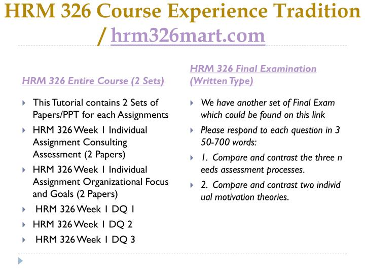 Hrm 326 course experience tradition hrm326mart com1