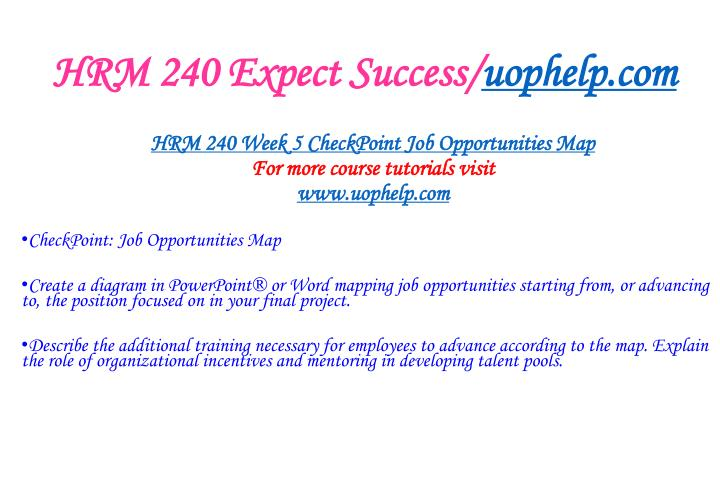 HRM 240 Expect Success/