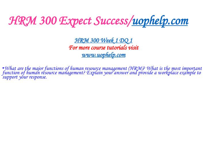 HRM 300 Expect Success/