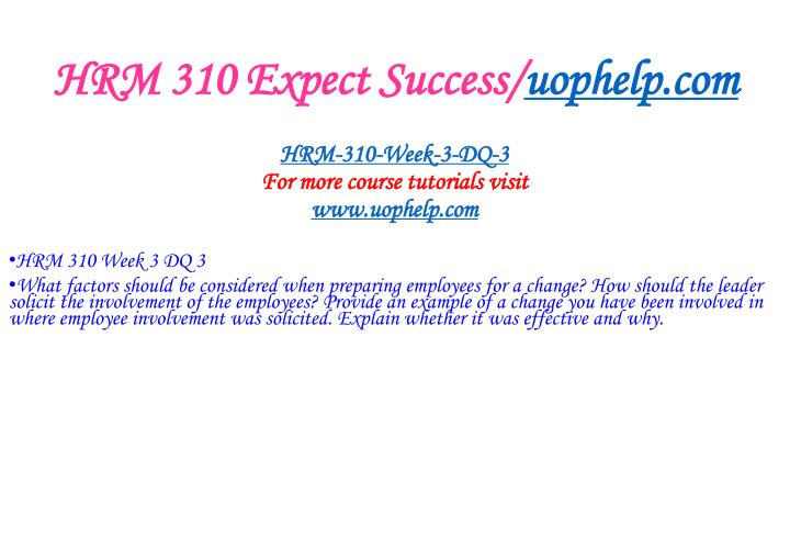HRM 310 Expect Success/
