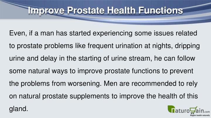Improve Prostate Health Functions