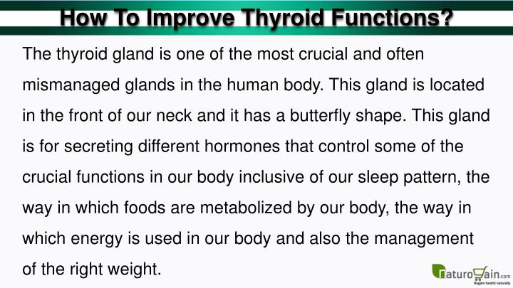 How To Improve Thyroid Functions?