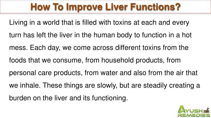 How To Improve Liver