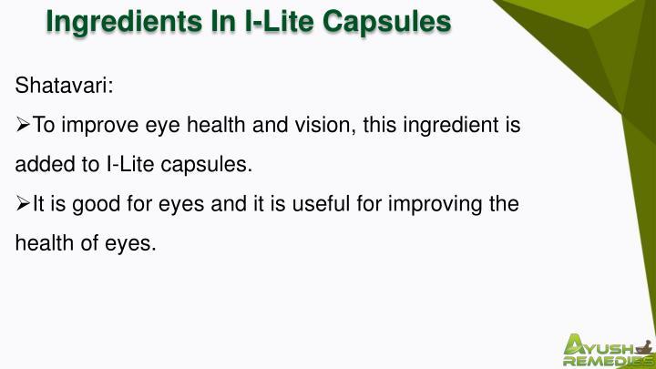 Ingredients In I-Lite Capsules