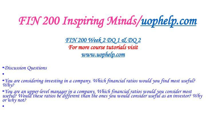 FIN 200 Inspiring Minds/