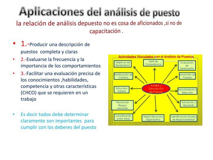 Aplicaciones del análisis de puesto