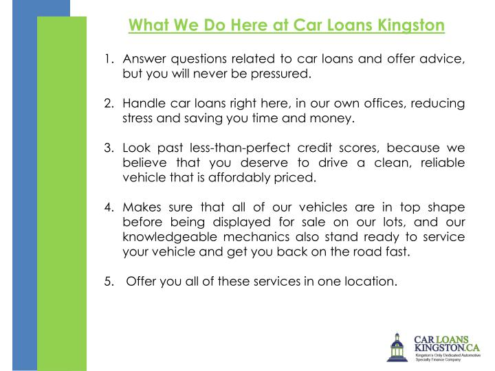 What We Do Here at Car Loans Kingston