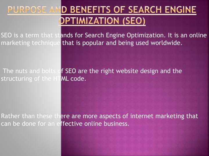 Purpose and benefits of search engine optimization seo