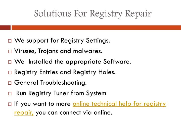 Solutions For Registry Repair