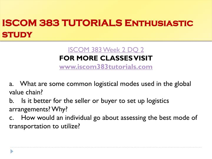 ISCOM 383 TUTORIALS Enthusiastic study