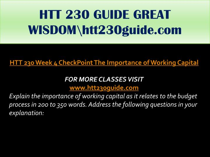 HTT 230 GUIDE GREAT WISDOM\htt230guide.com