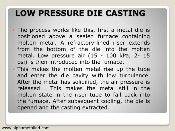 The process works like this, first a metal die is positioned above a sealed furnace containing molten metal. A refractory-lined riser extends from the bottom of the die into the molten metal. Low pressure air (15 - 100