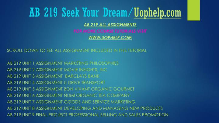 Ab 219 seek your dream uophelp com1