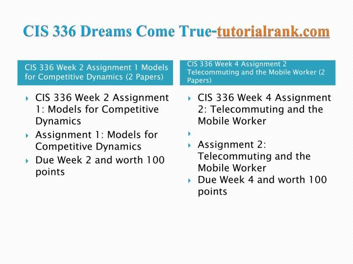 Cis 336 dreams come true tutorialrank com2
