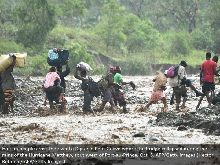 Haitian individuals cross the waterway La Digue in Petit Goave where the scaffold broken down amid the downpours of the Hurricane Matthew, southwest of Port-au-Prince, Oct. 5. AFP/Getty Images (Hector Retamal/AFP/Getty Images)
