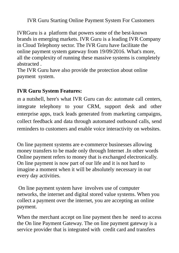 IVR Guru Starting Online Payment System For Customers