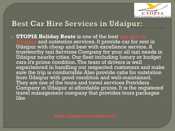 Best Car Hire Services in Udaipur: