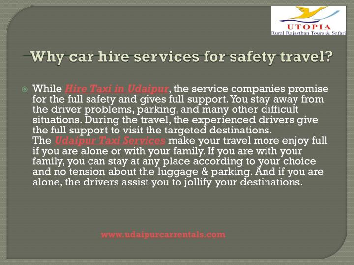 Why car hire services for safety travel?