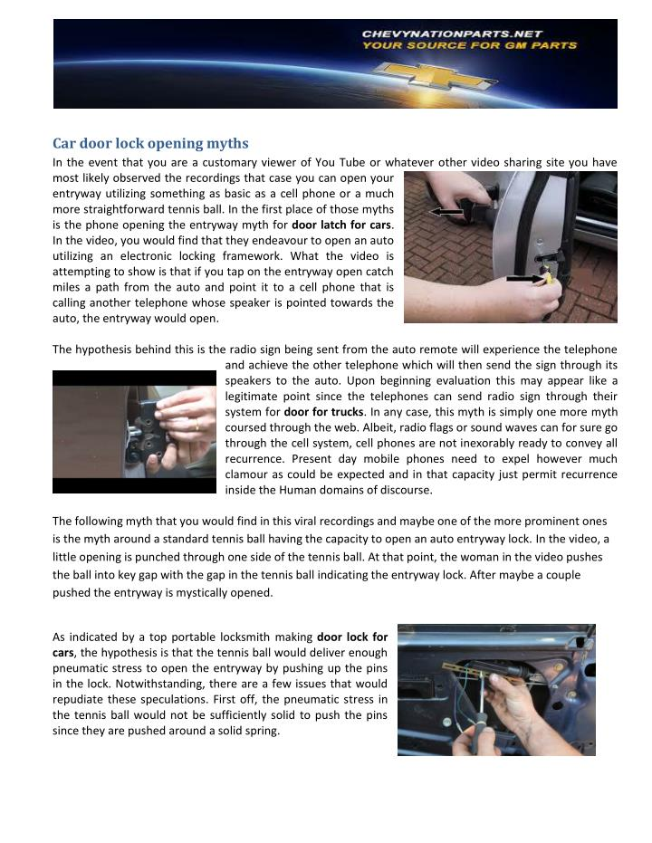 Car door lock opening myths
