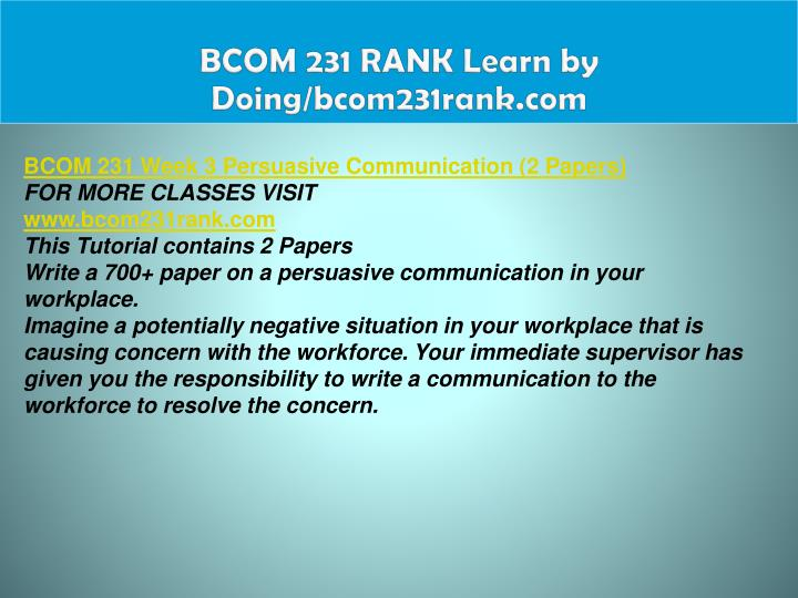 BCOM 231 RANK Learn by Doing/bcom231rank.com