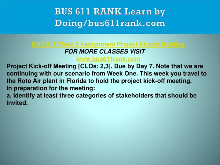 BUS 611 RANK Learn by Doing/bus611rank.com