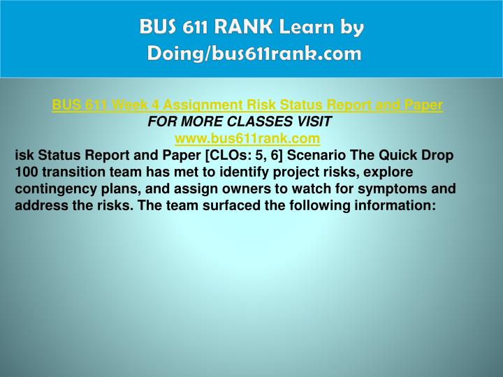 BUS 611 RANK Learn