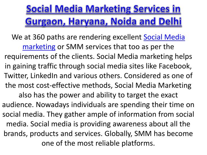 Social media marketing services in gurgaon haryana noida and delhi