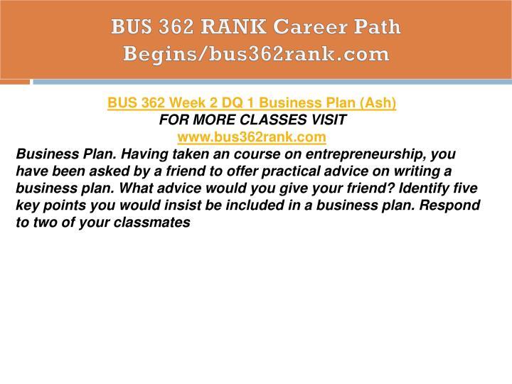 BUS 362 RANK Career Path Begins/bus362rank.com
