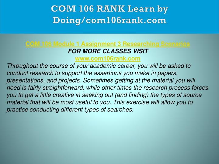 COM 106 RANK Learn by Doing/com106rank.com