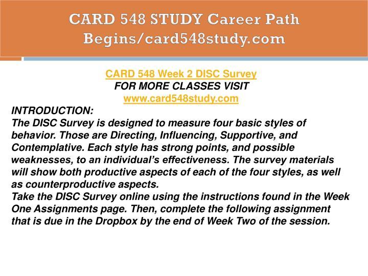 CARD 548 STUDY Career Path Begins/card548study.com