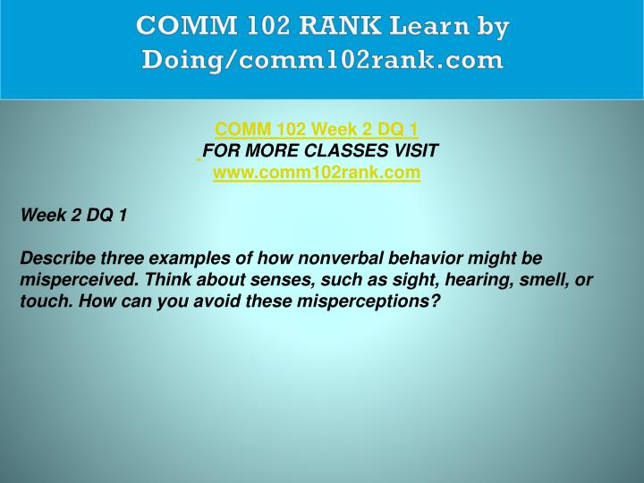 COMM 102 RANK Learn by Doing/comm102rank.com