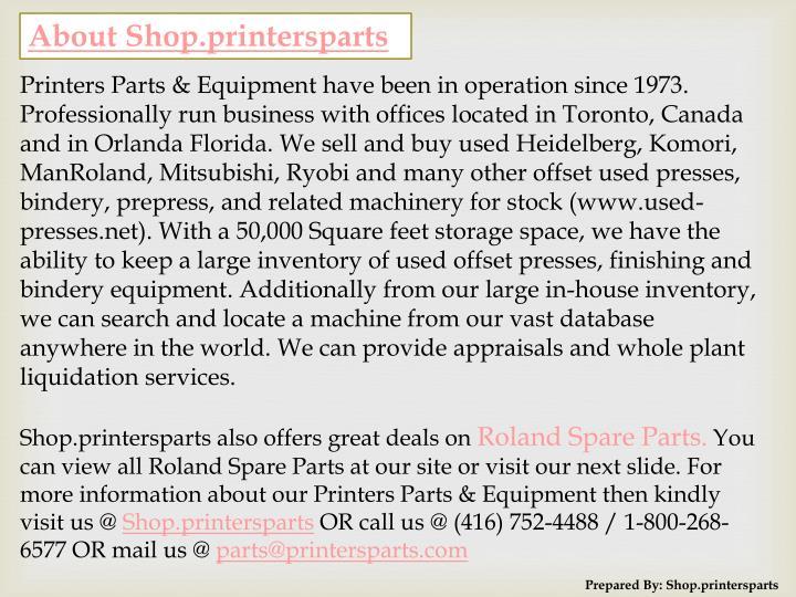 About Shop.printersparts