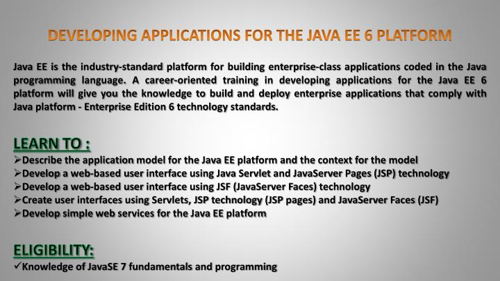DEVELOPING APPLICATIONS FOR THE JAVA EE 6 PLATFORM