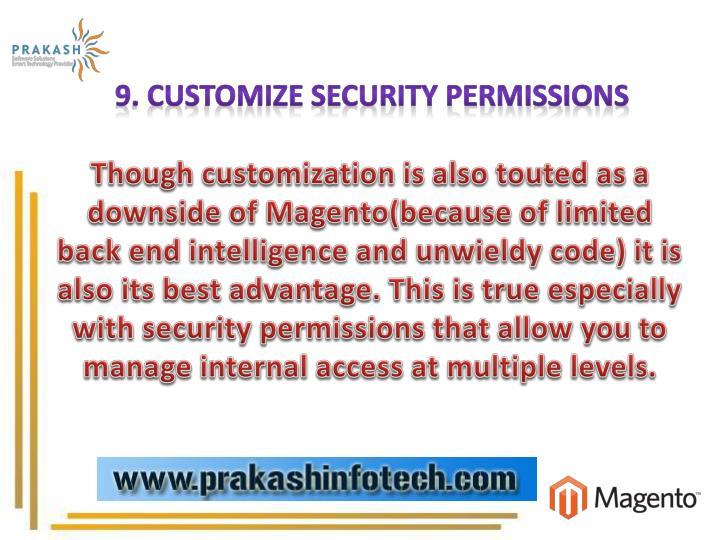 9. Customize Security Permissions