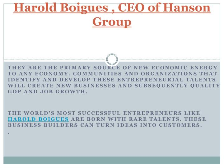 Harold boigues ceo of hanson group