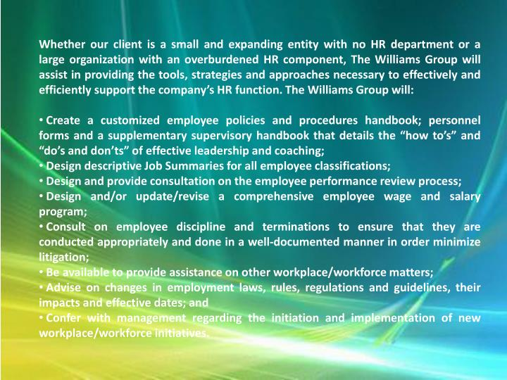 Whether our client is a small and expanding entity with no HR department or a large organization wit...