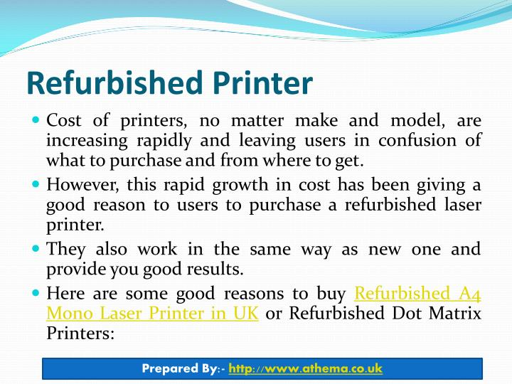 Refurbished printer