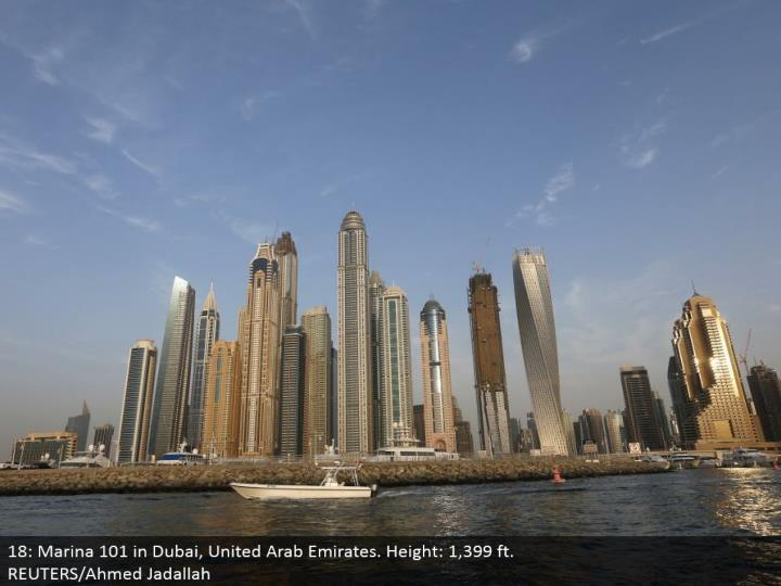 18: Marina 101 in Dubai, United Arab Emirates. Stature: 1,399 ft. REUTERS/Ahmed Jadallah